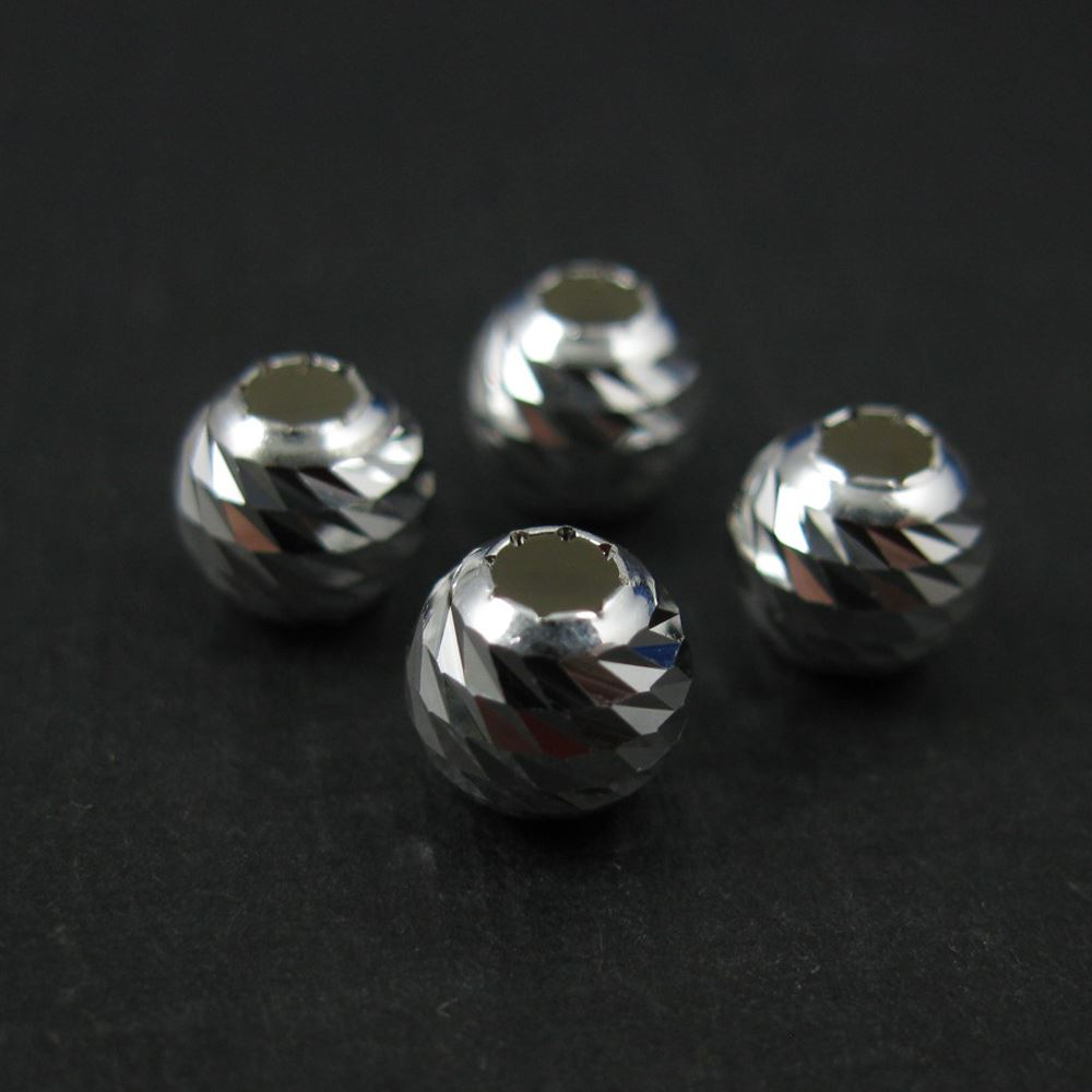 925 Sterling Silver Findings - Finely Detailed Round Beads - Spacers - 6mm ( 10 pieces)