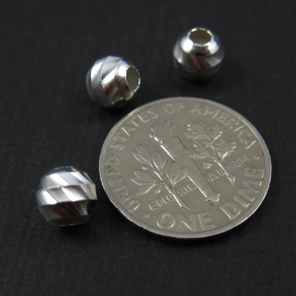 925 Sterling Silver Findings - Finely Grooved Round Beads - Spacers - 6mm ( 5 pcs )