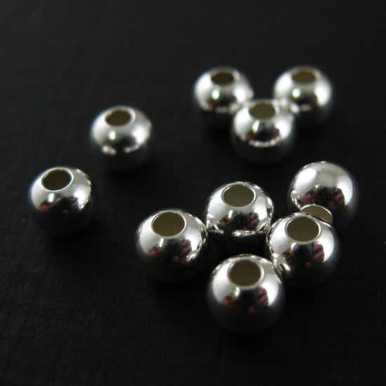 925 Sterling Silver Findings - Smooth Round Shaped Beads - 4 mm ( 10 pcs)