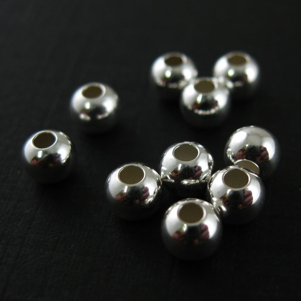 925 Sterling Silver Findings - Smooth Round Shaped Beads - 6 mm (5 pcs)
