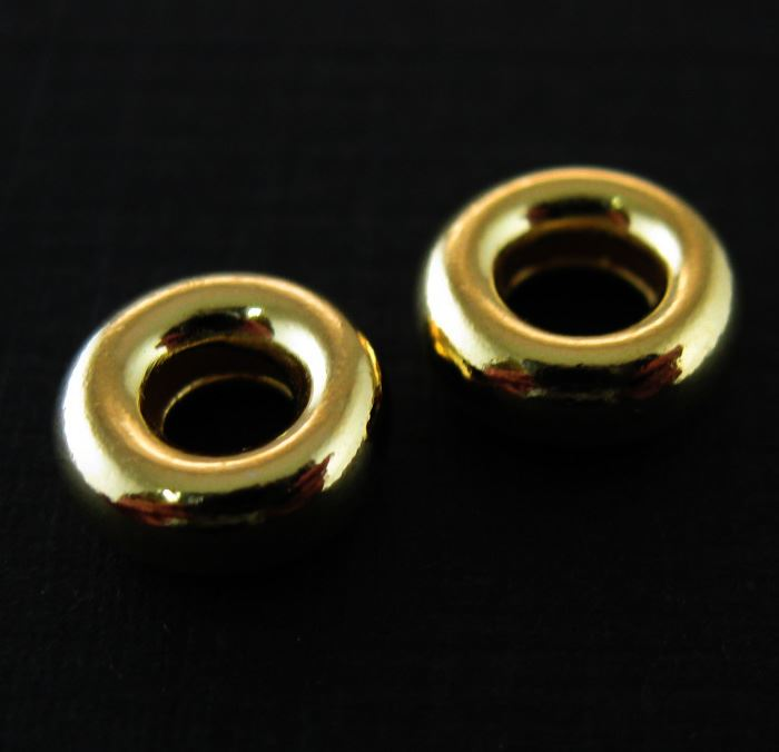 Vermeil - Gold Plated over Sterling Silver Findings - Smooth Donut Shaped Beads - 8mm by 3mm ( 4 pcs)