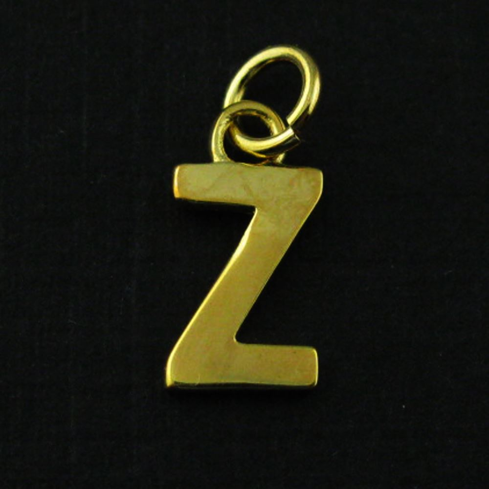 Smooth 18K Gold Plated over Sterling Silver Letter Charms - A-Z Letter Pendant