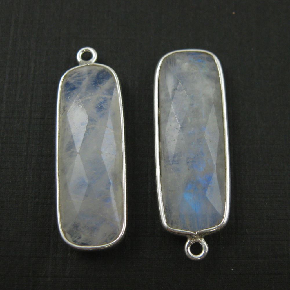 Bezel Charm Pendant-Sterling Silver Charm - Rainbow Moonstone -Elongated Rectangle Shape-34 by 11mm (sold per 2 pieces)