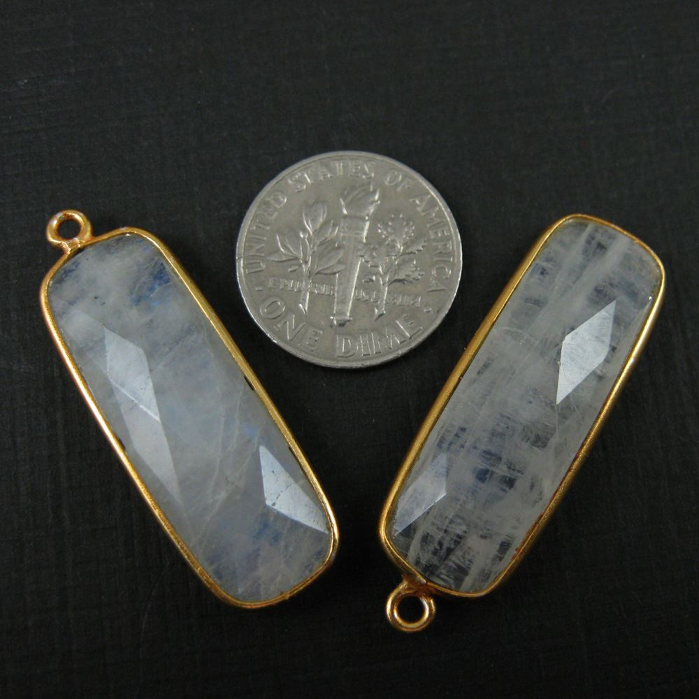 Bezel Charm Pendant-Vermeil Charm-Gold Plated -Rainbow Moonstone-Elongated Rectangle-34 by 11mm (Sold per 2 pieces)