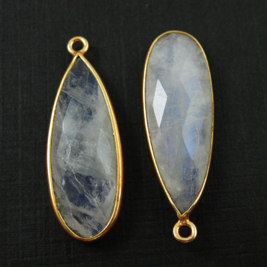 Bezel Charm Pendant -Vermeil Charm-Gold Plated -Rainbow Moonstone -Elongated Teardrop-34 by 11mm (Sold per 2 pieces)