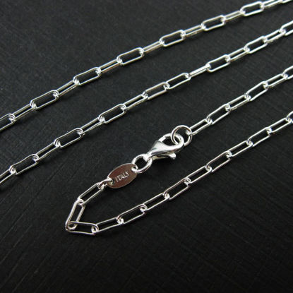 Sterling Silver Necklace, Bracelet, Anklet - Rectangle Link -Long Box Chain- 2.5 by 7mm - All Sizes