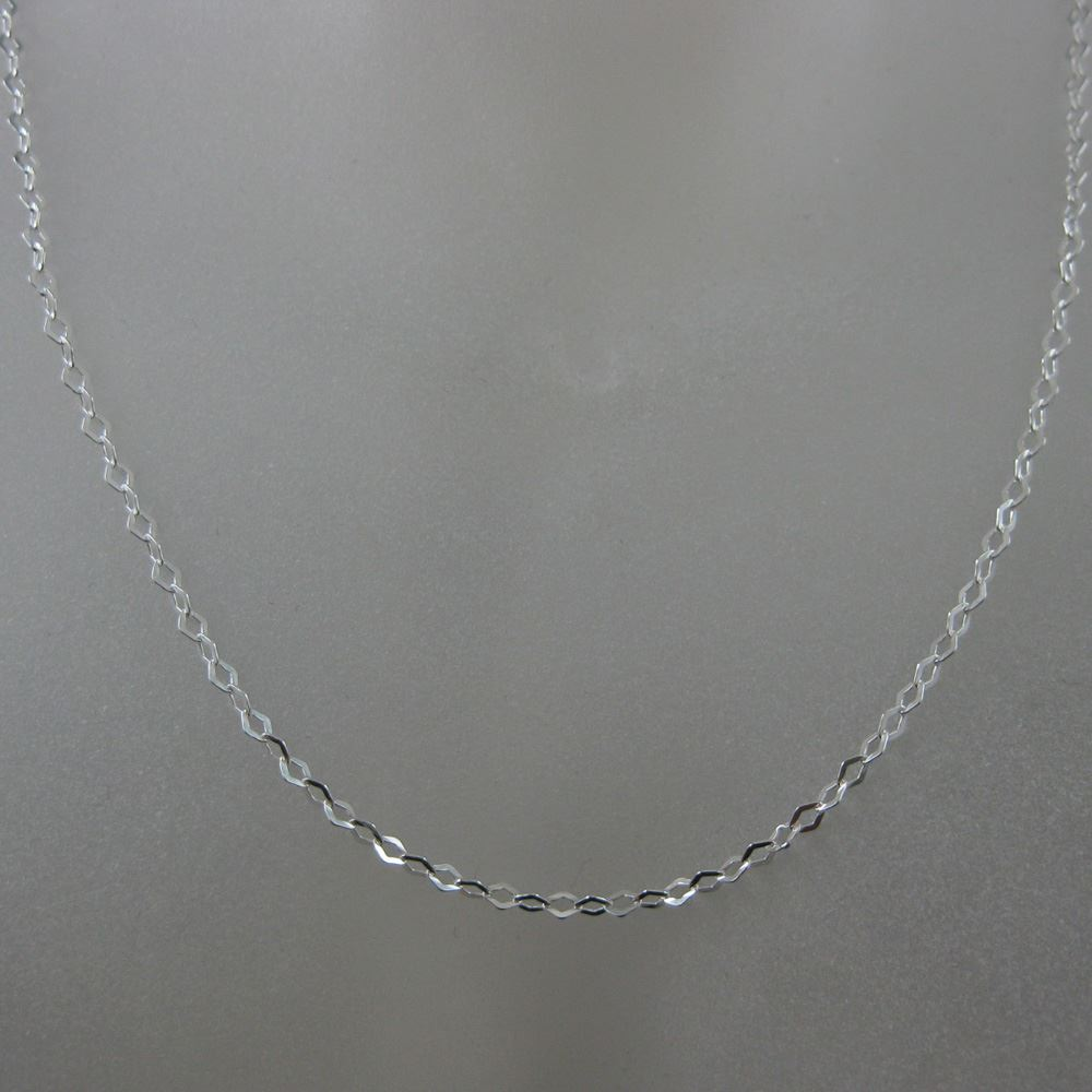 925 Solid Sterling Silver Chain Necklace - Silver Bracelet Chain - Siler Anklet Chain - Diamond Shape Flat Cable Chain-3 mm - All Sizes