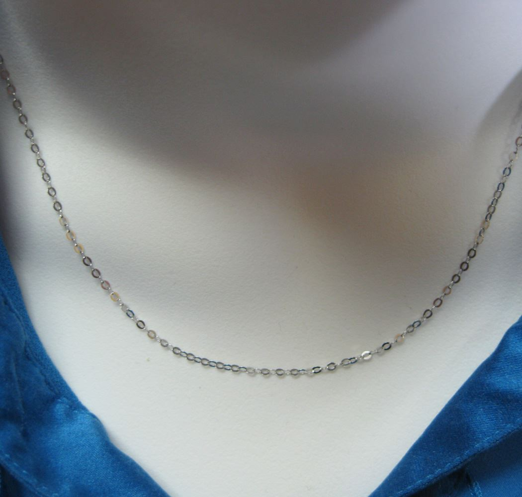 Rhodium Necklace Chain - Rhodium plated over 925 Italian Sterling Silver Chain - Light Flat Cable Necklace Chain