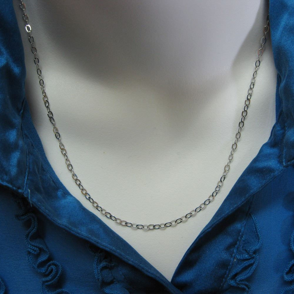 Rhodium Necklace Chain - Rhodium plated over 925 Italian Sterling Silver Chain - 3.5 x 3mm Light Flat Cable Necklace Chain - All Sizes