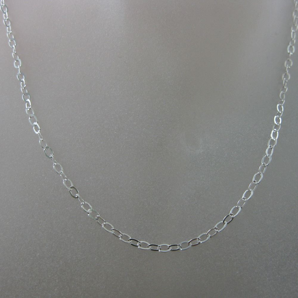Sterling Silver Necklace - 925 Italian Sterling Silver Chain - 3.5 x 3mm Light Flat Cable Necklace Chain - All Sizes