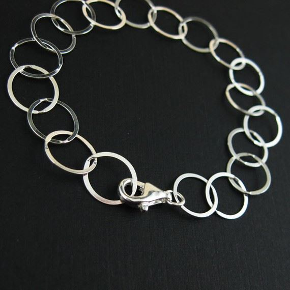 Sterling Silver Chain- Big Flat Circle Bracelet - lisa taubes Charm Bracelet - 10 mm (7.5 inches)