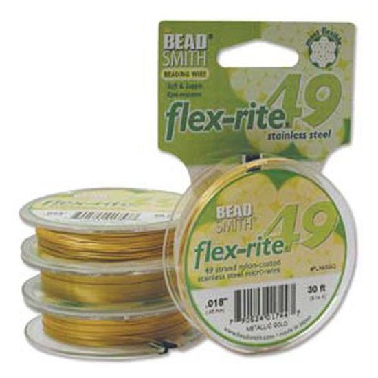 "Beadsmith Flex-rite 49 Strand Beading Wire - Metallic Satin Gold - .014"" 30 ft"
