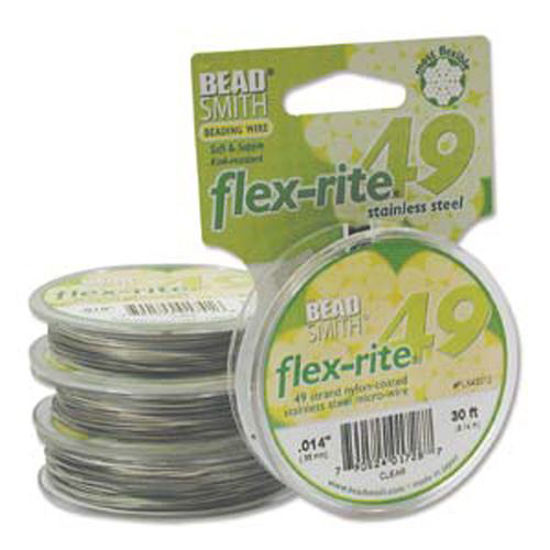 """Beadsmith Flex-rite 49 Strand Beading Wire - Clear Coat over S.S Wire - .014"""" 30 ft"""