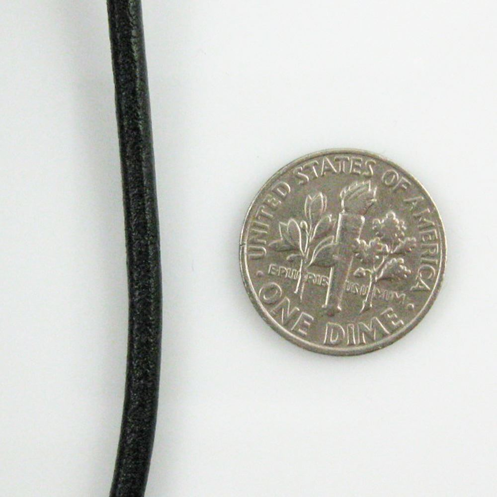 Handmade Leather Cord - Necklaces, Bracelets, Beading - 3mm - Black (5 Meters)
