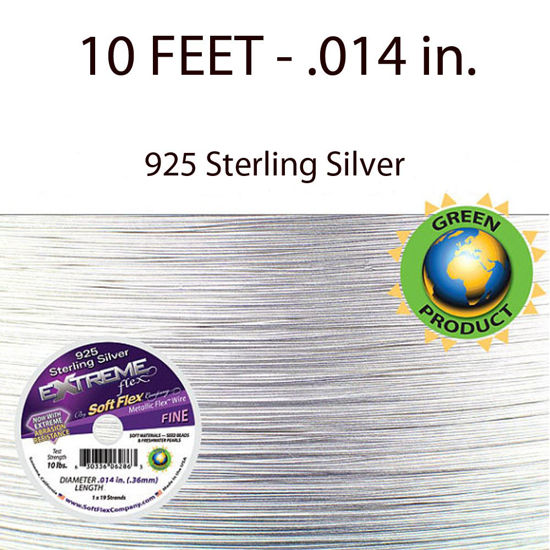 Extreme Flex - 19 Strands - 925 Sterling Silver - Beading Wire - Soft Flex - .014 in .Fine - 10 Feet