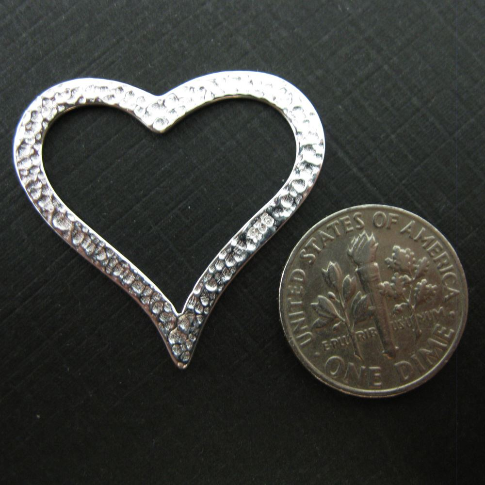 925 Sterling Silver Hammered Heart Charm- Large Heart Pendant- 27 by 29mm
