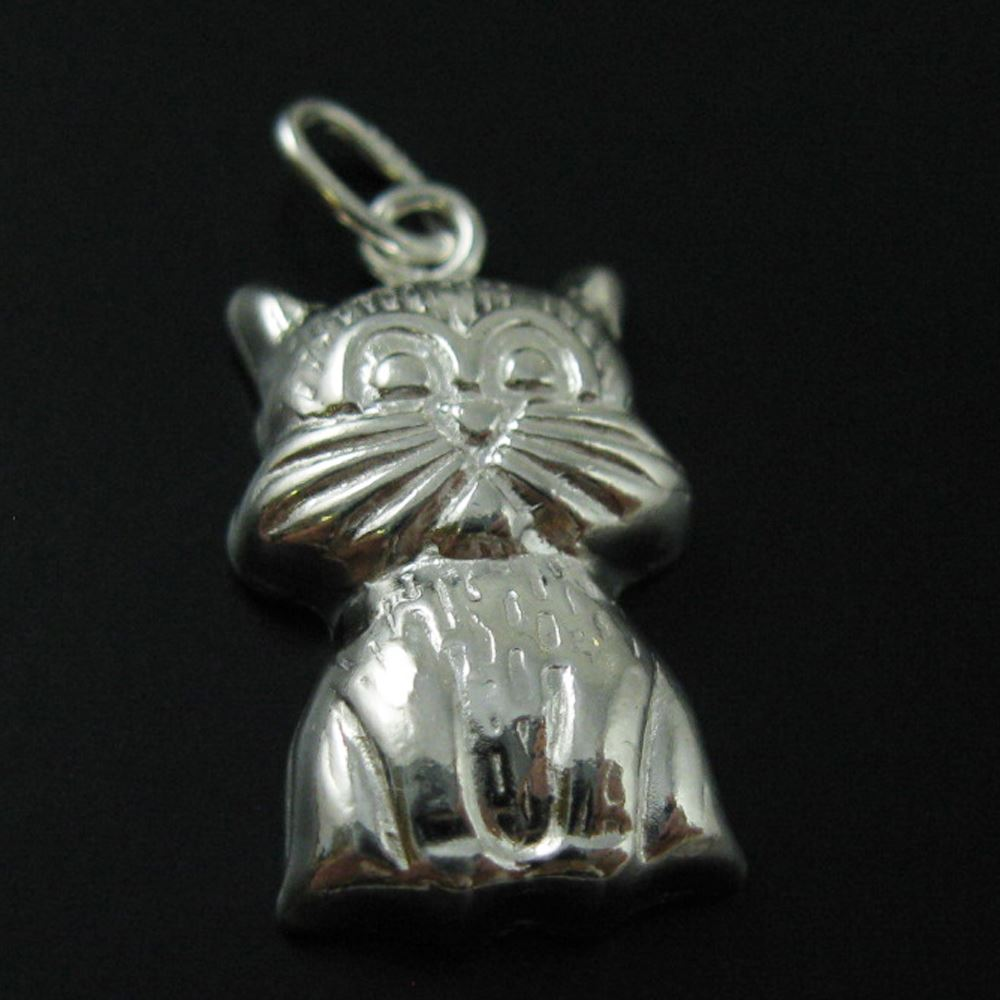 925 Sterling Silver Detail Cat Charm- Cat Pendant With oval Ring- 18 by 10mm (1 pcs)