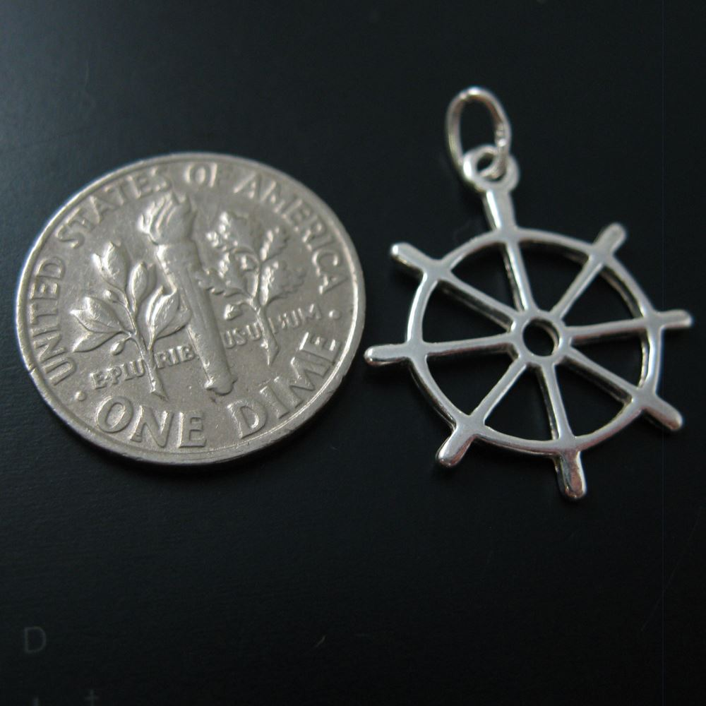 925 Sterling Silver Flat Boat Wheel Charms with Oval Ring - 17.5 mm (2 pcs)