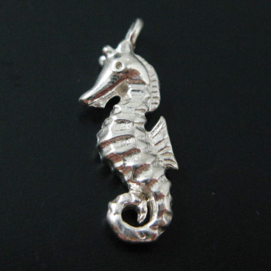 Seahorse Charm, Sterling Silver Detailed Seahorse Charm- Double Sided - 17mm by 6mm