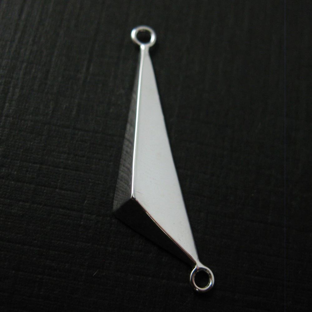 925 Sterling Silver Pyramid Charm Connector-Geometric Charm-Triangle Pendant- 31 by 7.4mm