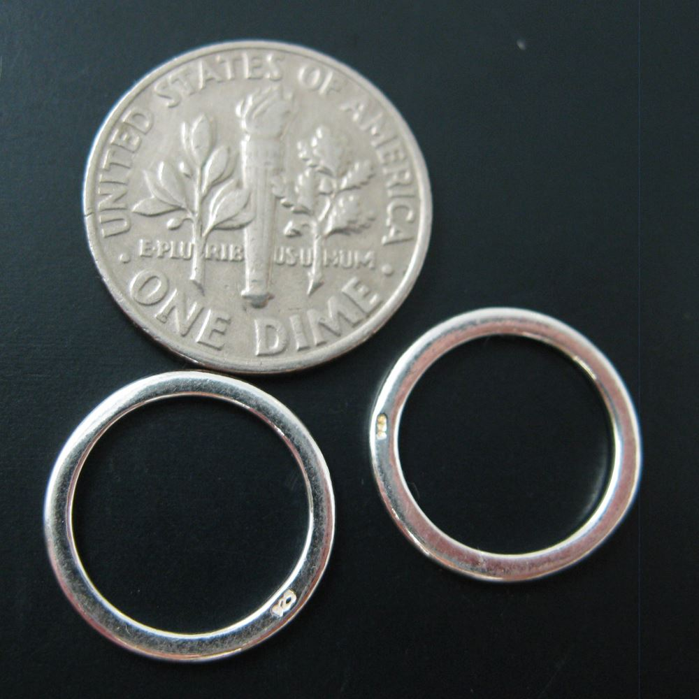 Sterling Silver Circle Charms, Sterling Silver Connectors - Closed Jumprings - 14mm ( 3 pieces)