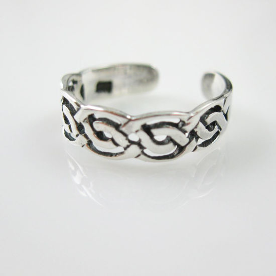 925 Sterling Silver Toe Ring - Knot Toe Ring - Adjustable Toe Ring