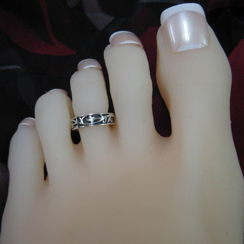 925 Sterling Silver Toe Ring - Flower Toe Ring - Adjustable Toe Ring- Vine