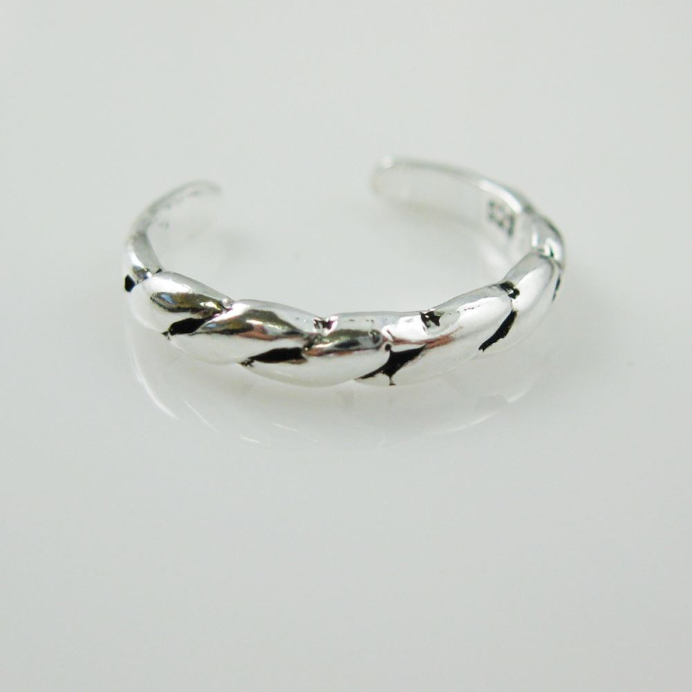 925 Sterling Silver Toe Ring - Rope Ring -Adjustable Toe Ring- Rope