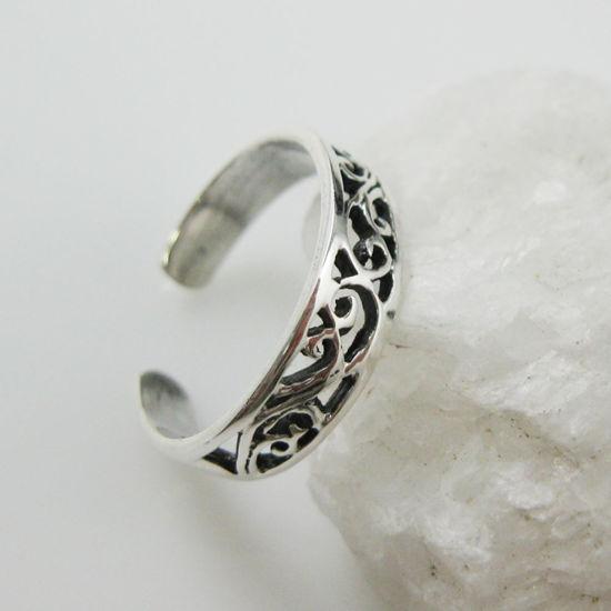 925 Sterling Silver Toe Ring - Fancy Filigree Ring -Adjustable Toe Ring