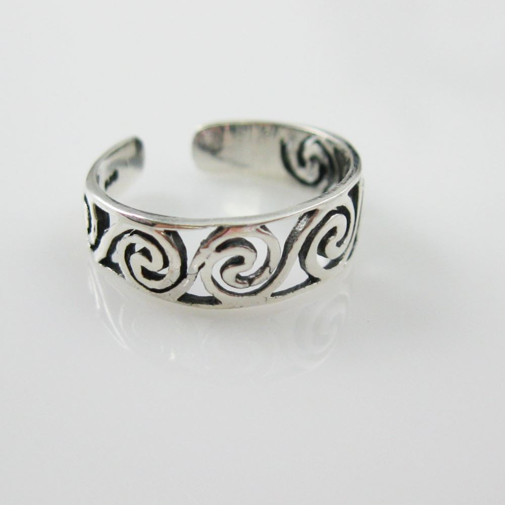 925 Sterling Silver Toe Ring - Funky Swirled Ring-Adjustable Toe Ring