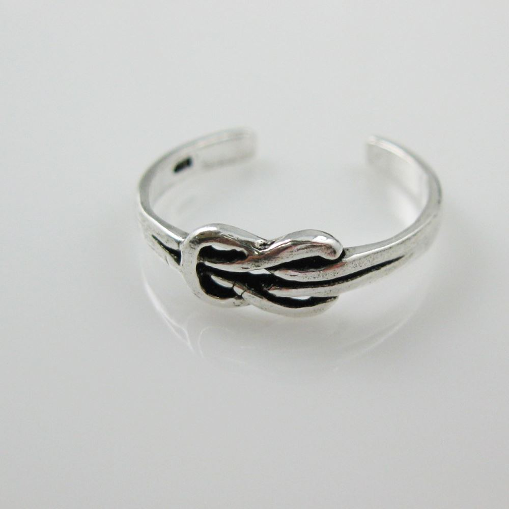 925 Sterling Silver Toe Ring- Square Knot Ring-Adjustable Knot Toe Ring