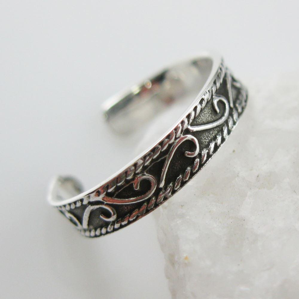 925 Sterling Silver Toe Ring- Fine Artisan Ring- Adjustable Artsy Toe Ring