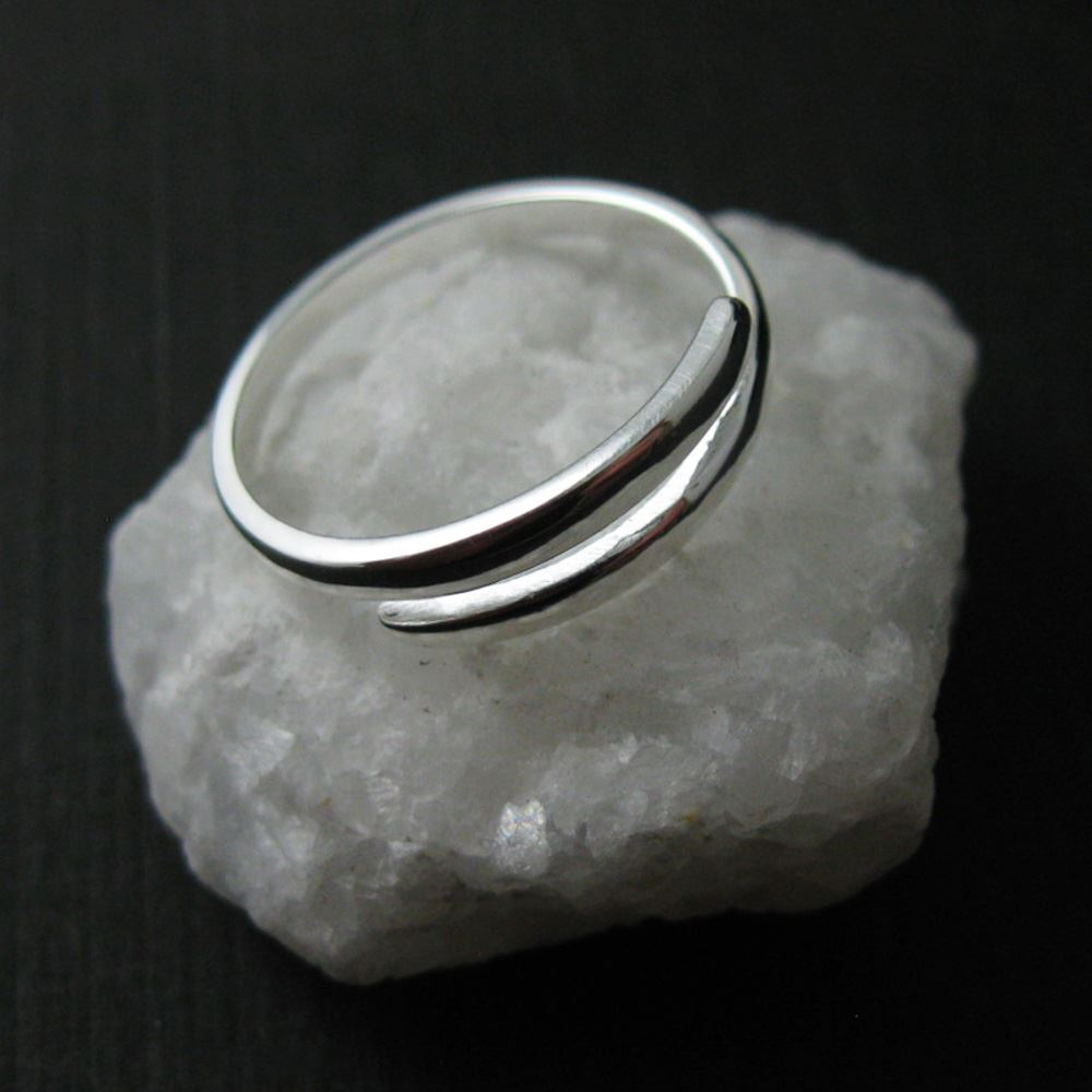 925 Sterling Silver Ring - Smooth Double Bar Ring - Classic Ring - Adjustable Ring