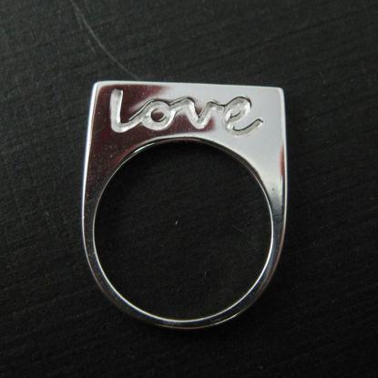 925 Sterling Silver Ring- Silver Love in script Ring - Big Love Ring