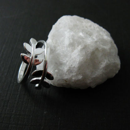 925 Sterling Silver Leaf Ring - Leaves- Branch Ring - Tree Ring - Adjustable Ring
