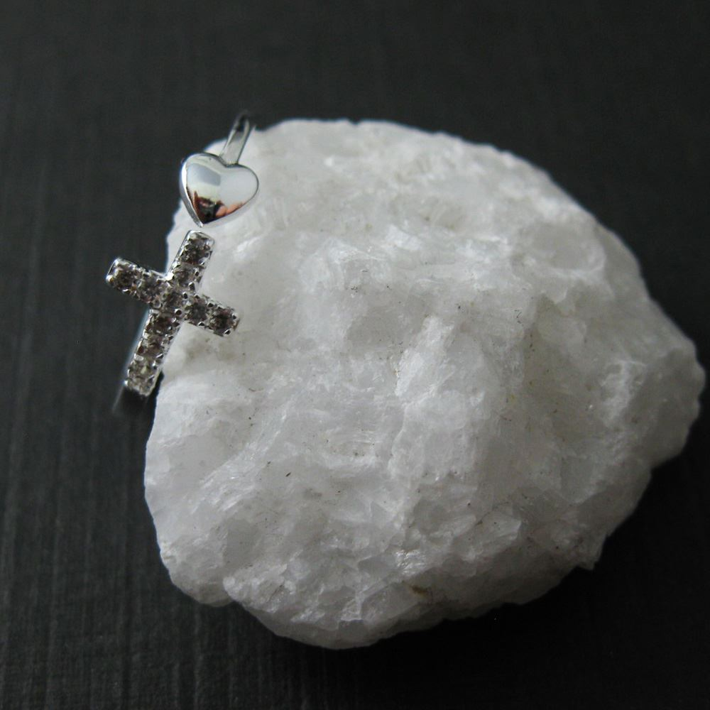 925 Sterling Silver CZ Stone Cross and Heart - CZ ring - Silver and Stones - Cross - Adjustable Ring