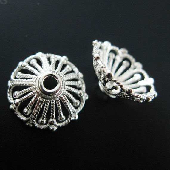925 Solid Sterling Silver Bead Caps 14mm ( 2pcs)