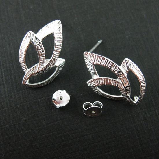 Sterling Silver Texture Leaf Earwire - Fancy Earwire - 21mm by 13mm (2pcs - 1 pair)