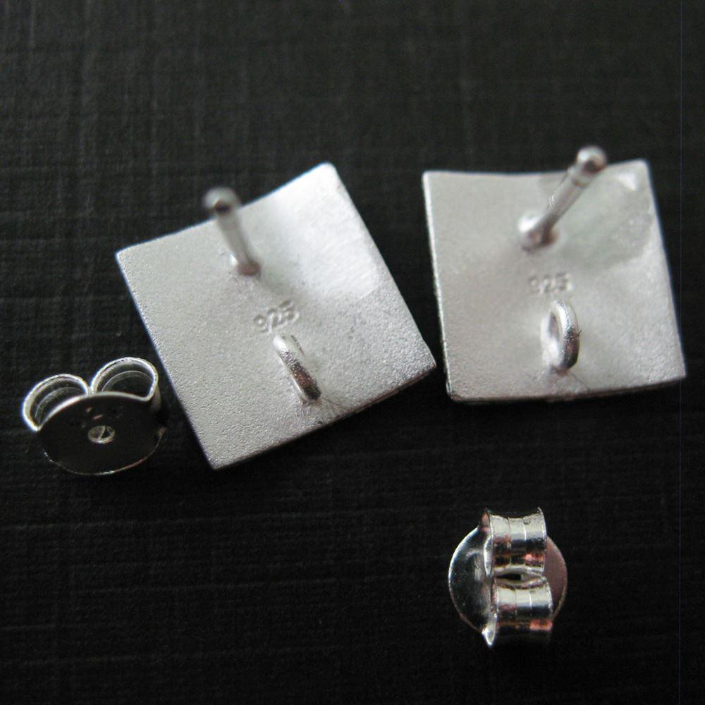 925 Sterling Silver Texture Sqare Earwire - Fancy Earwire- 10mm by 10mm (2pcs - 1 pair)