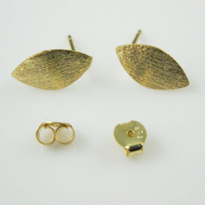 18k Gold plated over 925 Sterling Silver Texture Tiny Marquise Earwire -13mm by 7mm (2pcs - 1 pair)