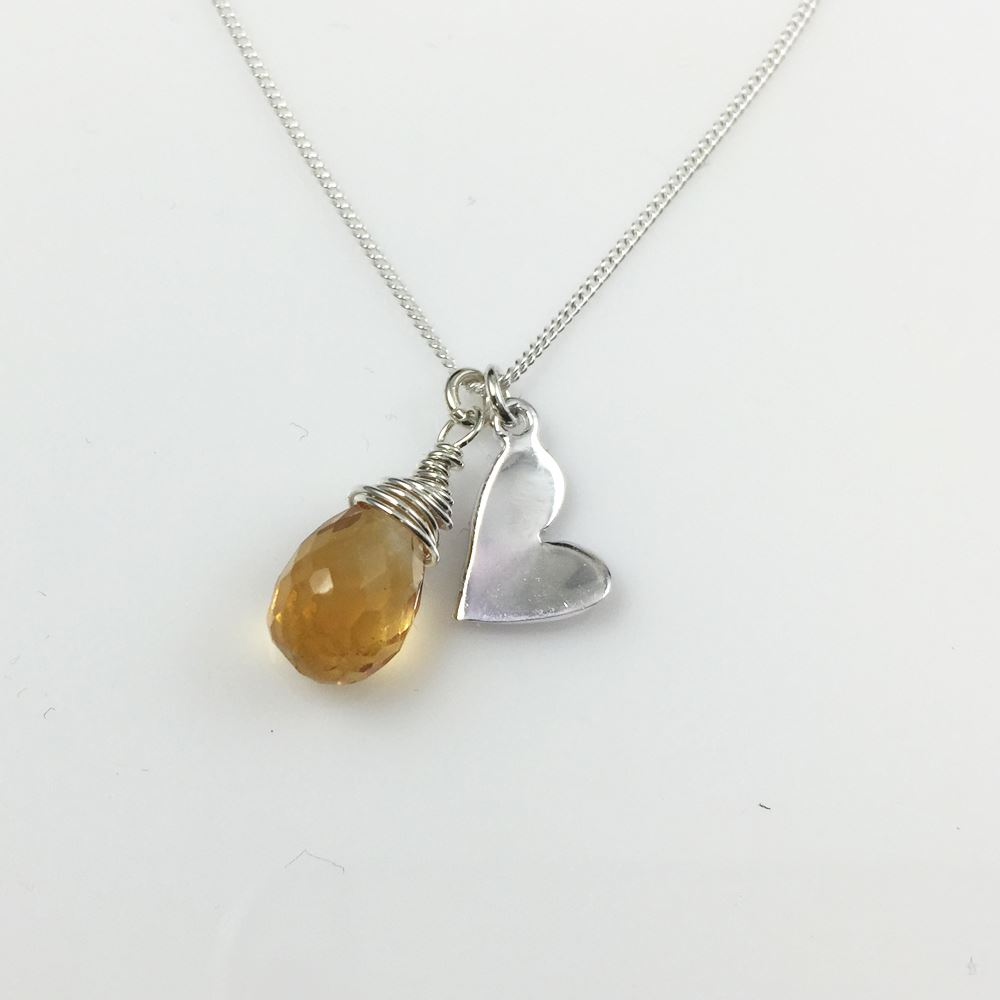 Sterling Silver and Gemstone Necklace ,Yellow Citrine Teardrop with Heart Necklace