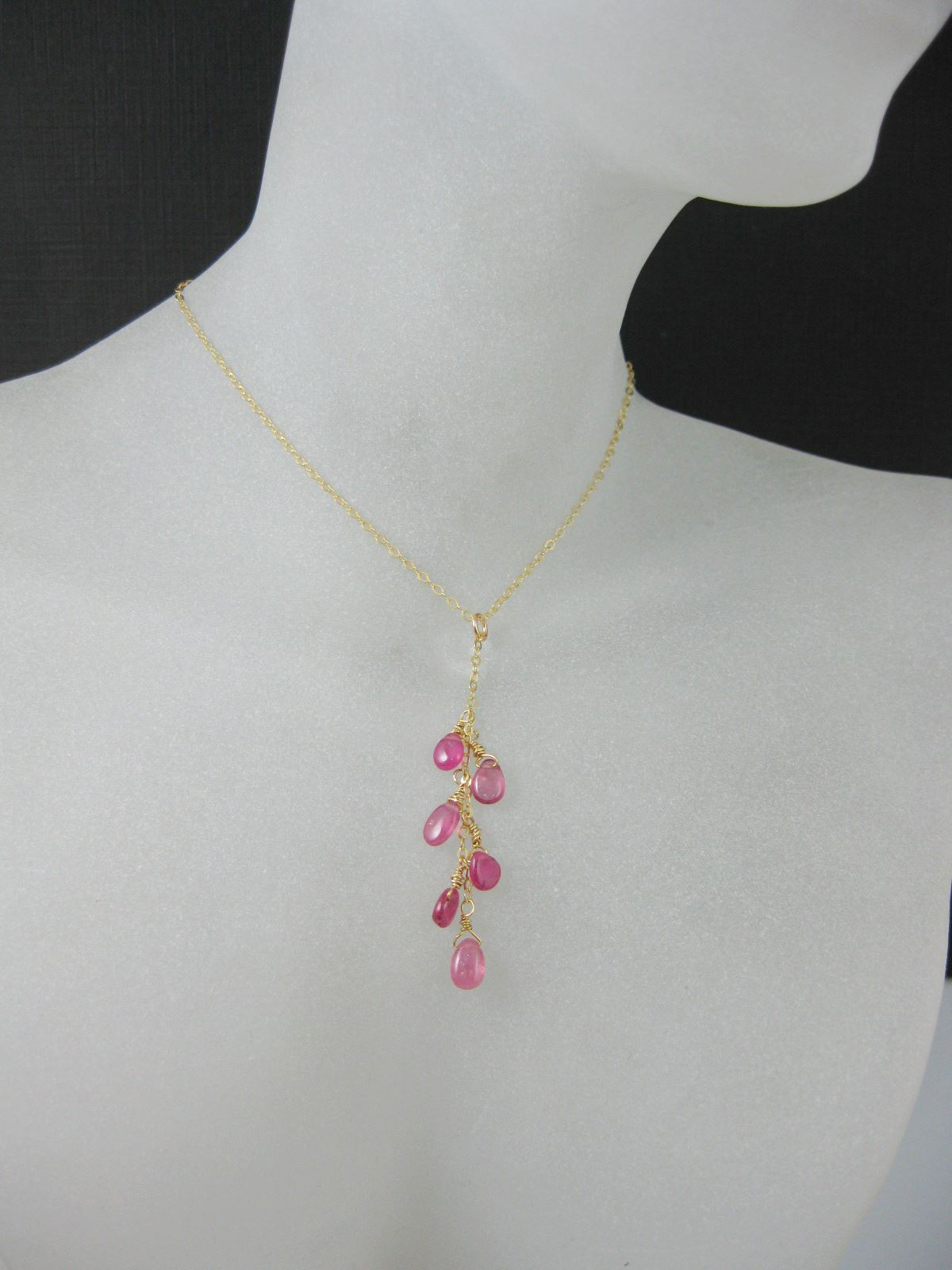 18k Gold plated Necklace -Hot pink Sapphire Necklace - Everyday Wear- Wedding ,Bridal -September Birthstone