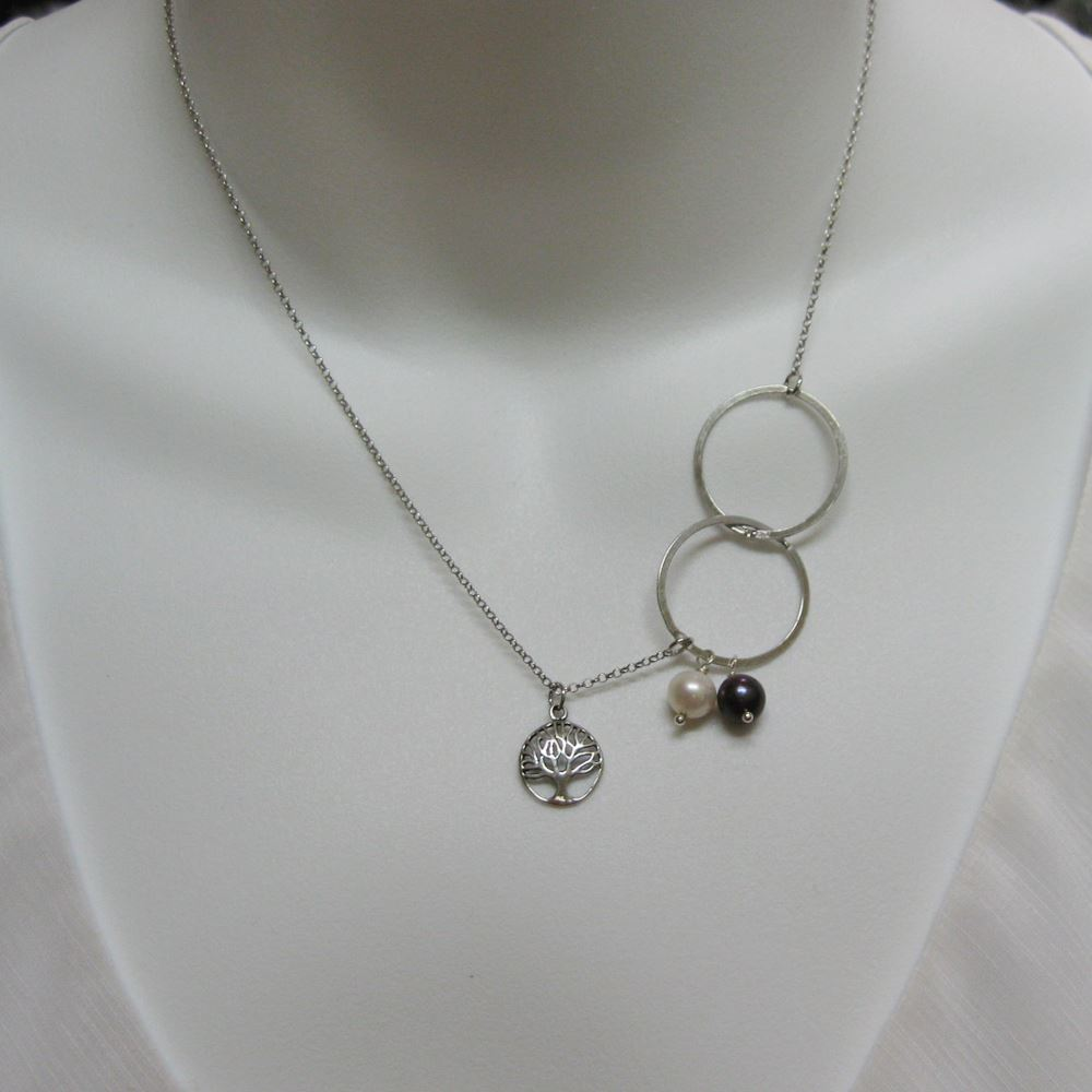 Rhodium Sterling Silver Necklace - Fresh Water Pearl Necklace , Tree of Life Neckalce - June Birthstone Necklace