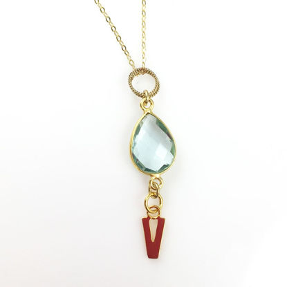 March Birthstone Necklace - Bezel Gemstone Necklace - Gold Vermeil Necklace- Aqua Quartz with Initial Letter Necklace-Personalized Necklace
