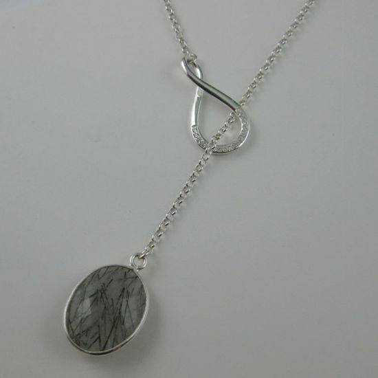 Sterling Silver Necklace - Infinity Lariat - Silver Bezel Gemstone Infinite Lariat Necklace- CZ Infinity - Bezel Gemstone