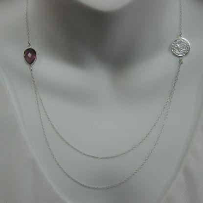 Sterling Silver Necklace - Bezel Gemstone - Flower Filigree Charm- Layered Silver Necklace