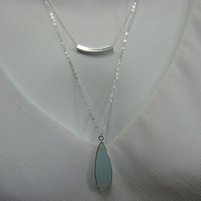 Sterling Silver Duo Necklace - Necklace Set - Bezel Gemstone with Sterling Silver Bar