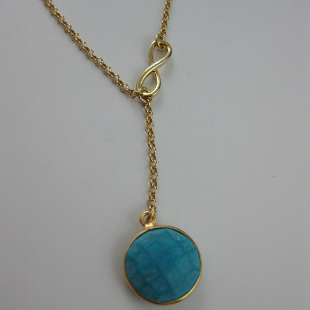 22k Gold plated over Sterling Silver Necklace - Bezel gemstone Infinity Necklace - Infinite Lariat Style - Gold Infinity Y Necklace
