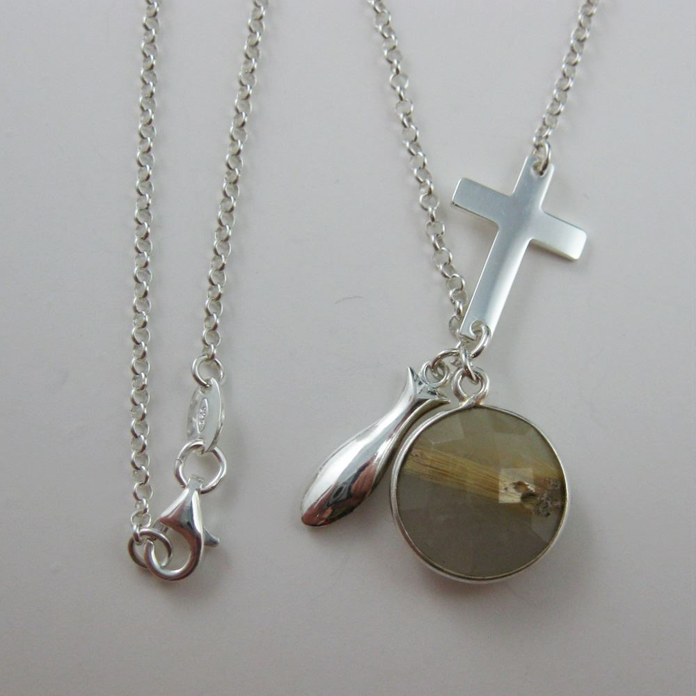 Sterling Silver Necklace - Religous Necklace - Religous Charms - Silver Religous Necklace - Faith - Bezel gemstone Necklace