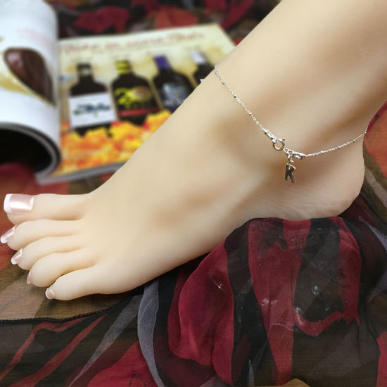 Sterling Silver Anklet - Initial Charm Anklet - Beaded Chain Anklet with Initial Charm- Personalized Charm Anklet